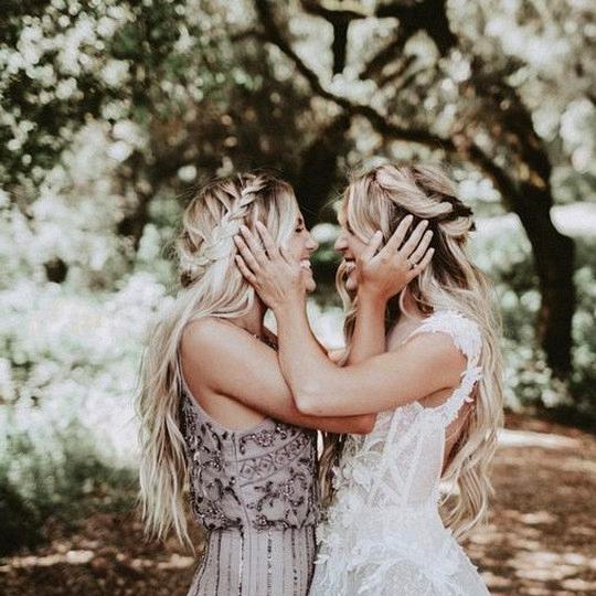 sweet wedding photo with bridemaid