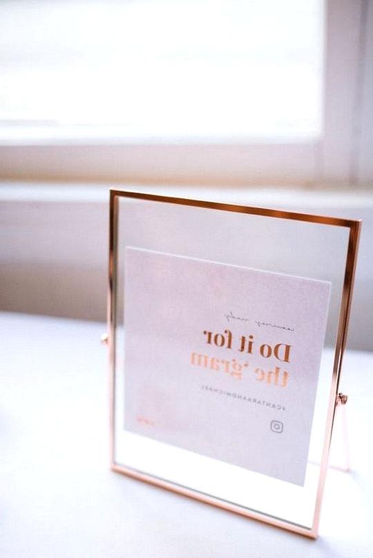 simple chic rose gold metallic wedding sign