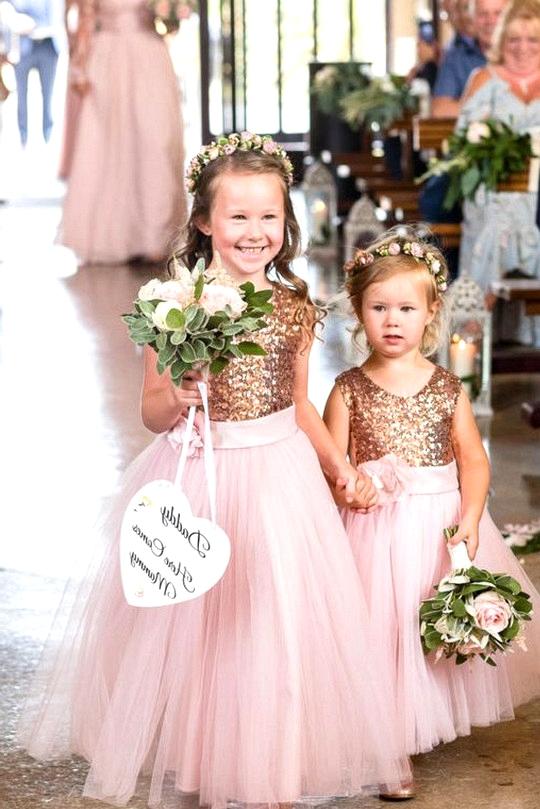 rose gold sequins flower girl dresses