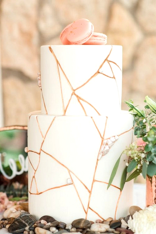 chic rose gold and white wedding cake