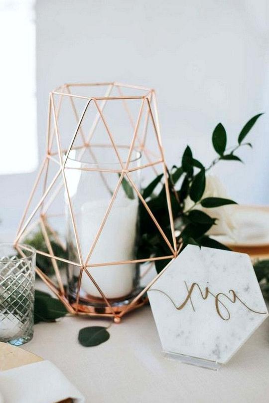 rose gold and sage wedding centerpiece