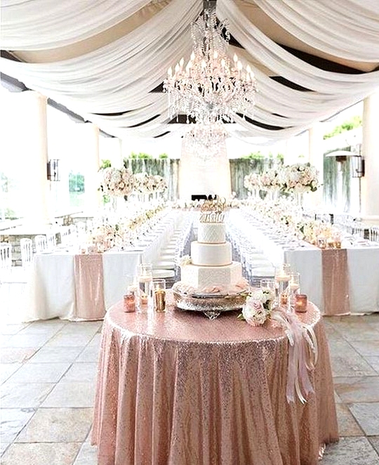 elegant rose gold wedding reception ideas