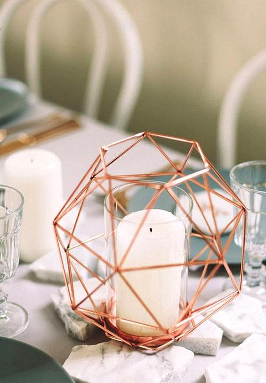 modern chic rose gold wedding centerpiece ideas with candles