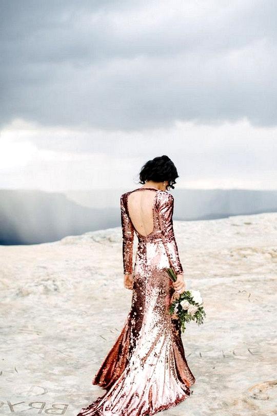 glitter rose gold sequins wedding dress