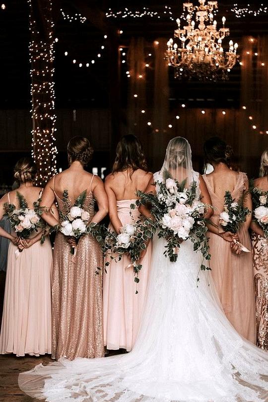 rose gold bridesmaid dresses bridal party photo ideas