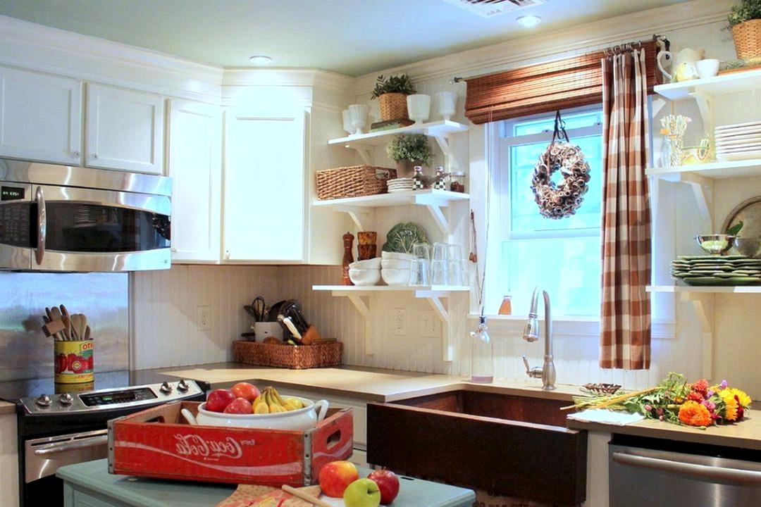 farmhouse kitchen hickory cabinets
