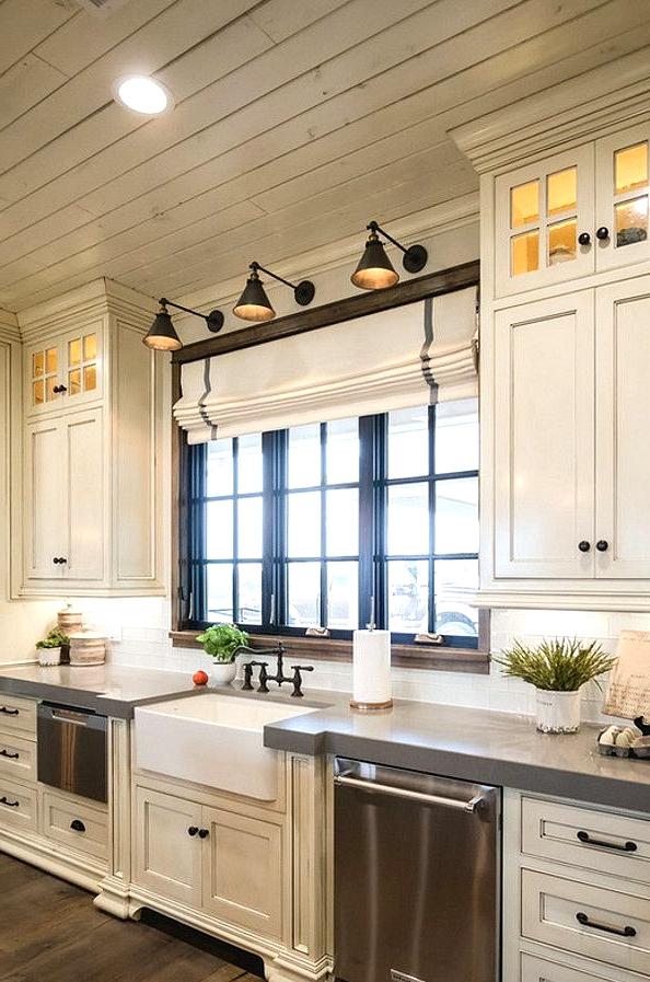 farmhouse kitchen dark cabinets