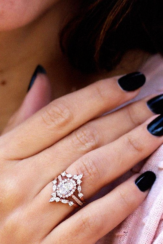 unique rose gold diamond engagement ring