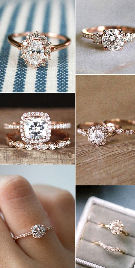 vintage rose gold engagment rings