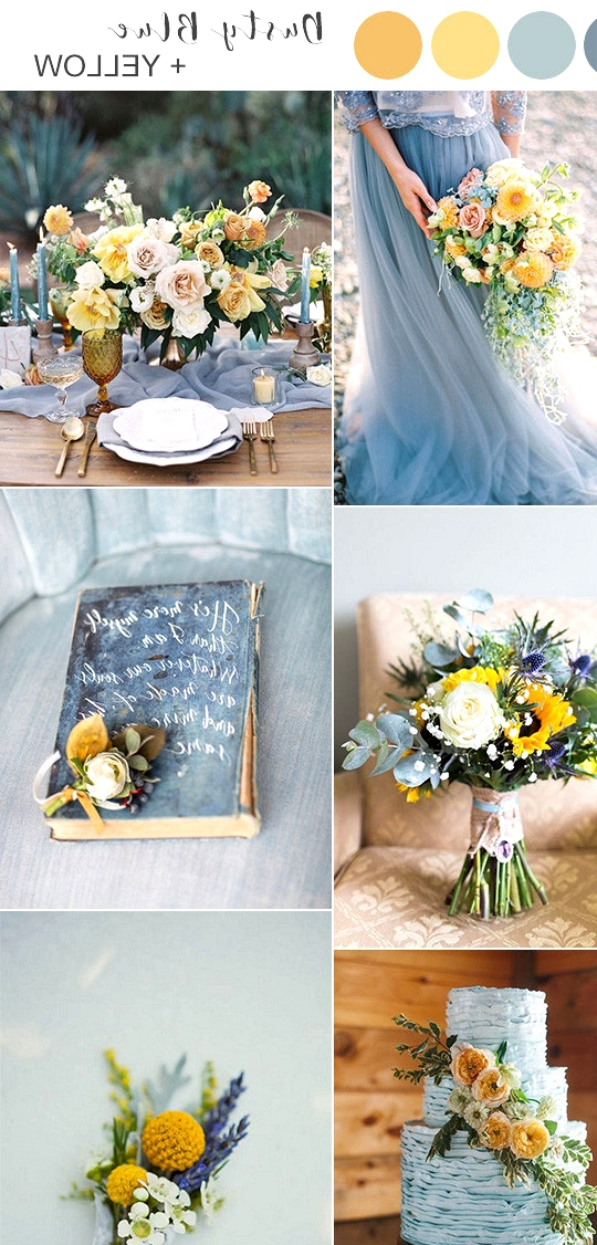 dusty blue and yellow wedding color ideas for spring summer 2020