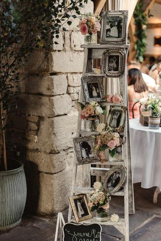 vintage wedding decoration ideas with ladder