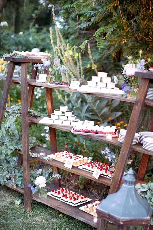 outdoor wedding dessert display ideas with vintage ladders