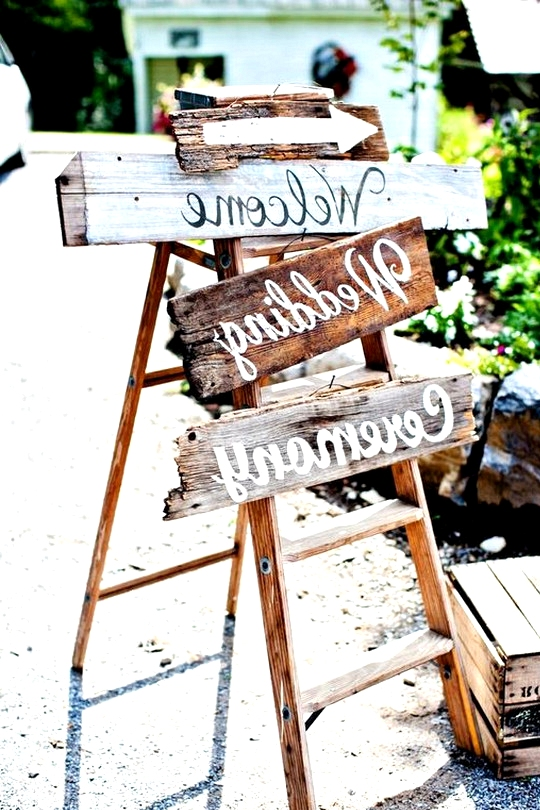 shabby chic wedding sign ideas with ladder