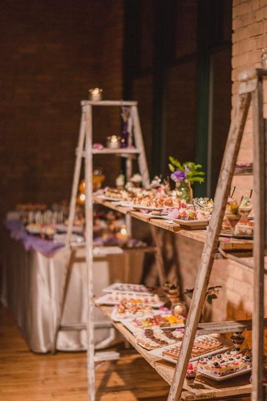 vintage ladders inspired wedding food station ideas