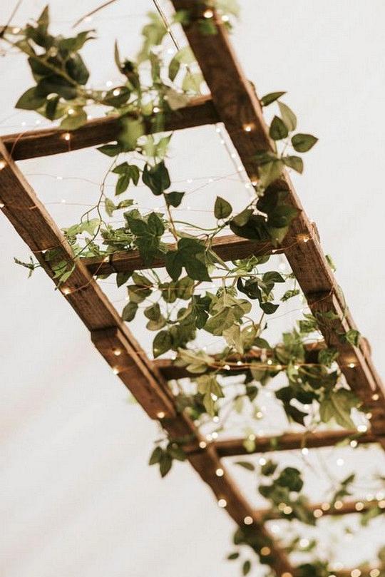 vintage ladder greenery and lights wedding decoration ideas