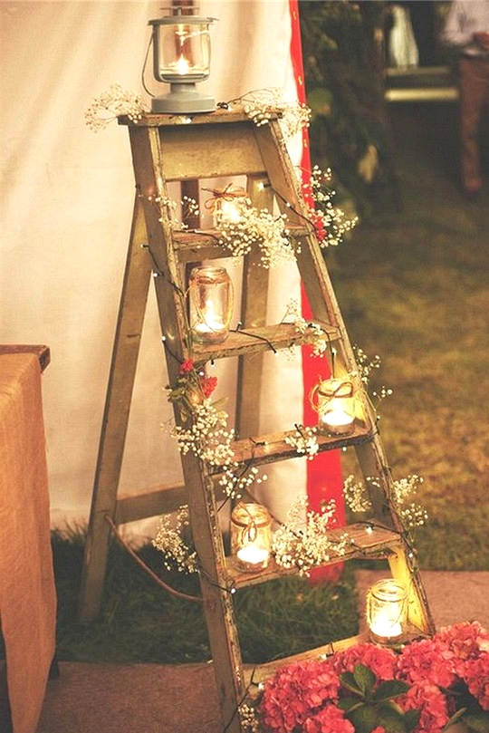country wedding decoration ideas with ladder