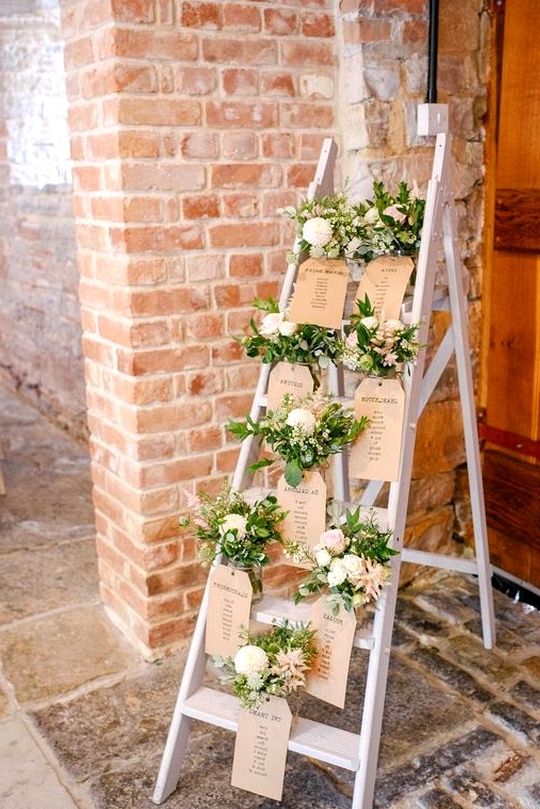 chic vintage ladder wedding table seating chart decoration ideas