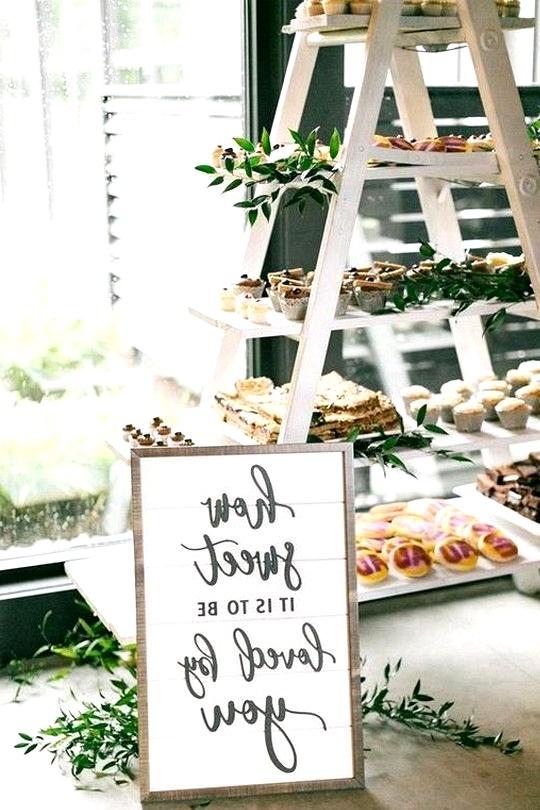 vintage wedding dessert display ideas with ladder