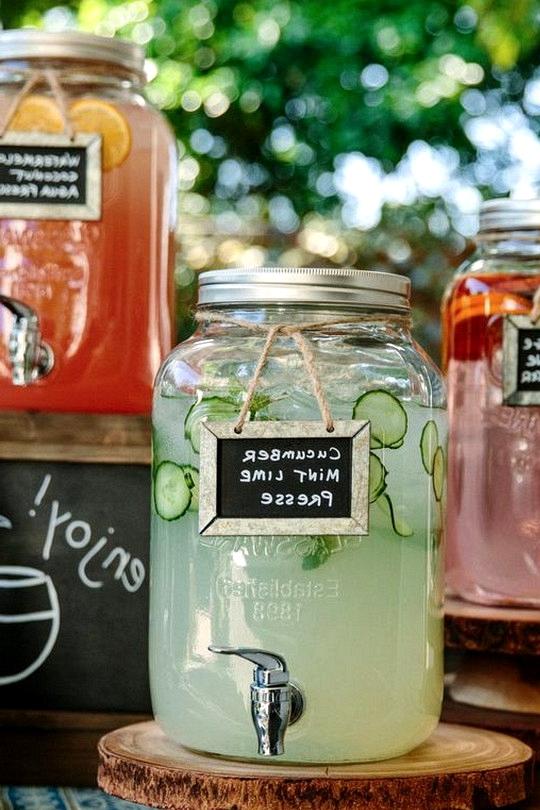 rustic wedding self-serve beverage bar on a budget