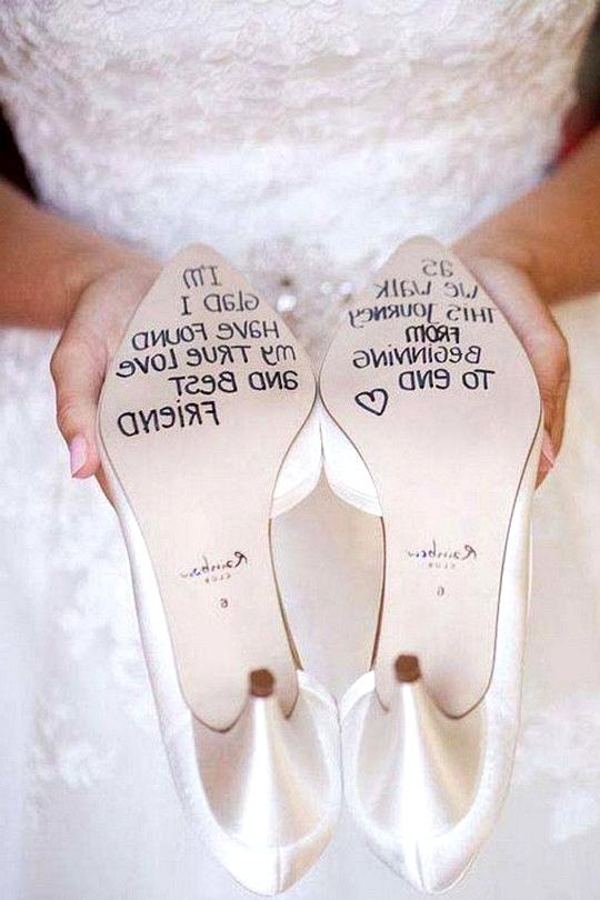 hand writing on wedding shoes