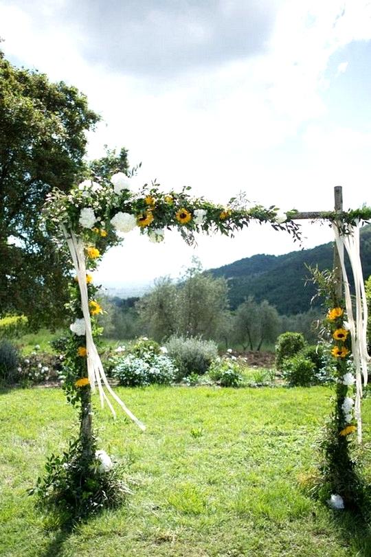outdoor rustic sunflower wedding arch ideas