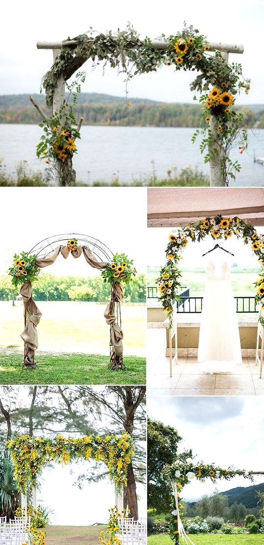 outdoor country wedding arches with sunflowers
