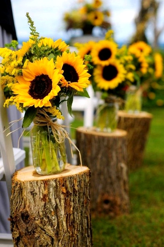 country wedding ceremony aisle decoration ideas with sunflowers