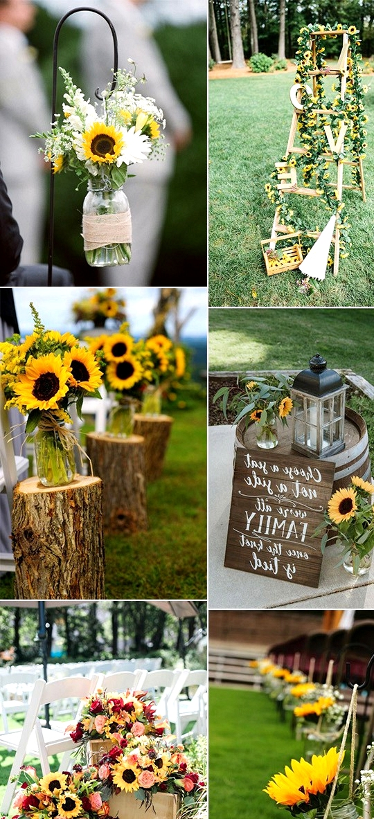 rustic outdoor wedding decoration ideas with sunflowers