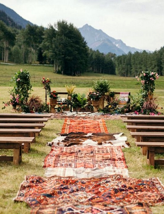 DIY outdoor boho inspired wedding ceremony aisle ideas
