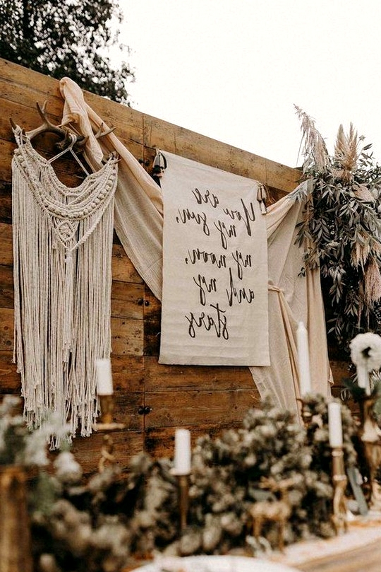 nude colors bohemian wedding reception decorations