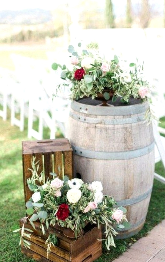 wedding ceremony decorations with wine barrels