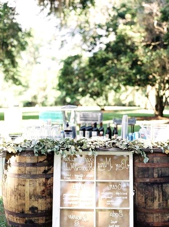 wine barrels outdoor wedding drink station ideas