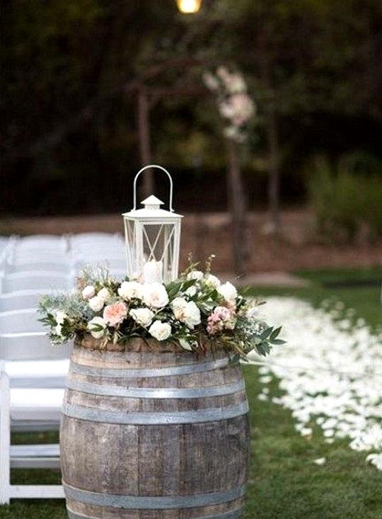wine barrels country wedding decoration ideas