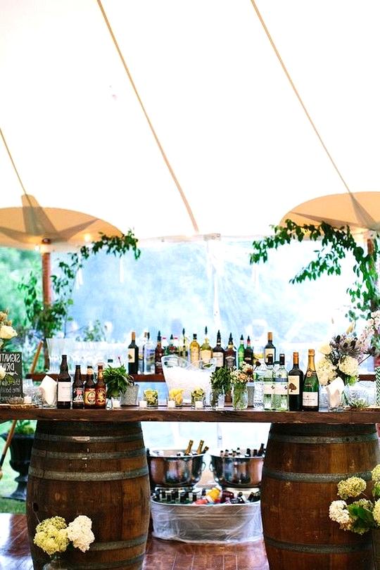 tented wedding drink bar ideas with wine barrels