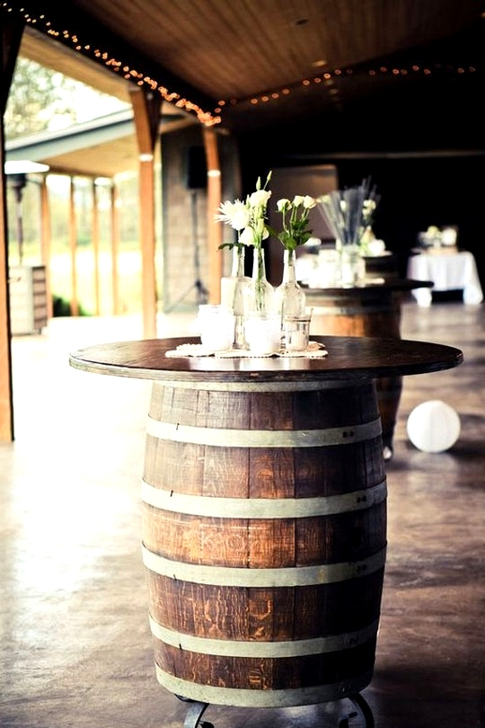 wine barrels cocktail tables for country rustic weddings