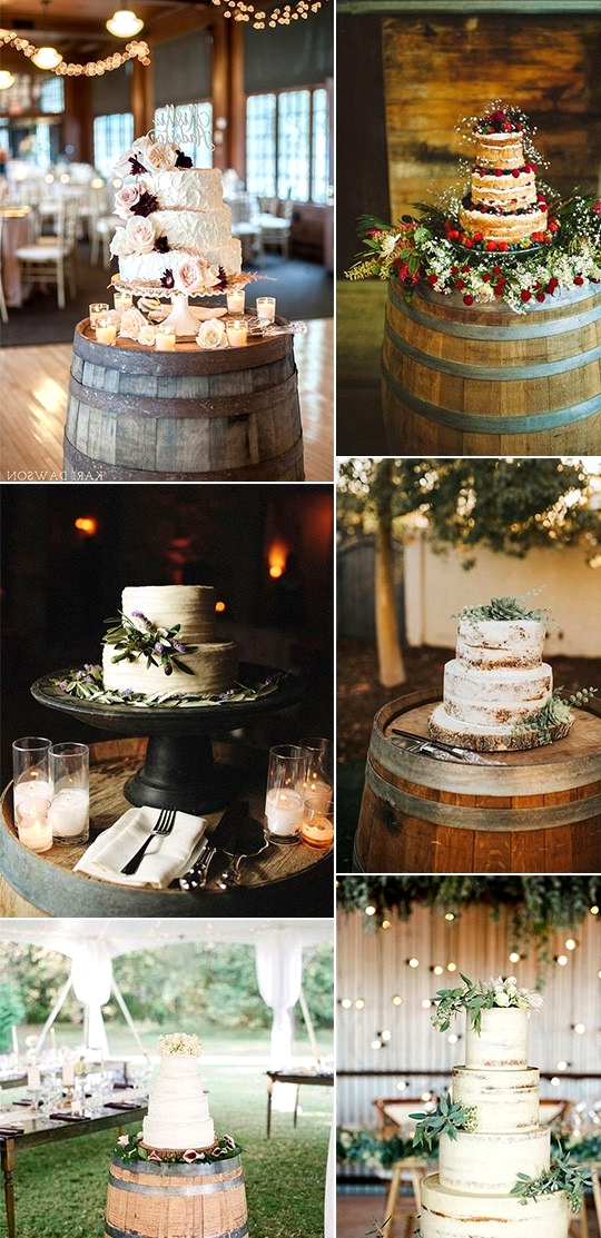 rustic wedding cakes with wine barrel stands