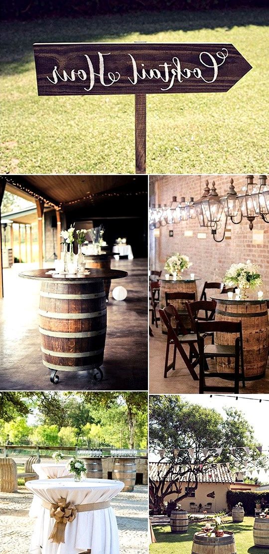 wine barrels country wedding cocktail table ideas