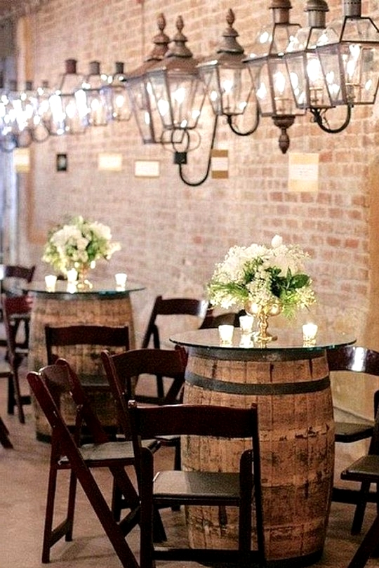rustic wedding cocktail tables with wine barrels