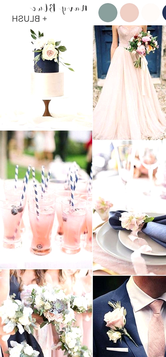navy blue and blush pink spring summer wedding colors