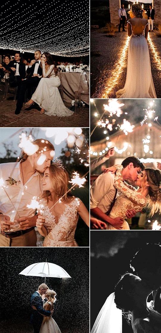 trending wedding photo ideas at nighttime