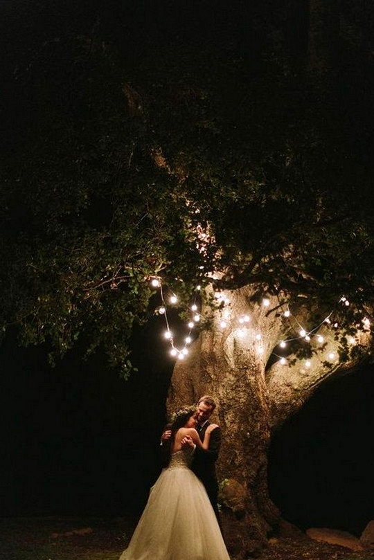 night wedding photo ideas with string lights
