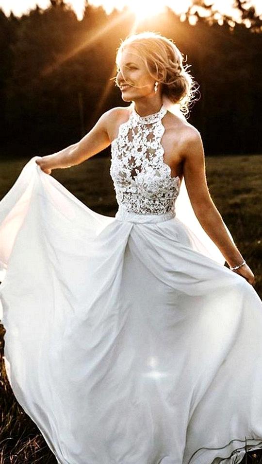 a line halter sleeves wedding dress