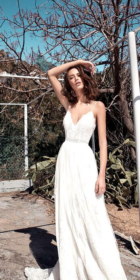 v neck spaghetti beach wedding dress