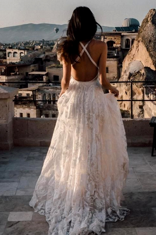 stunning a line open back wedding dress