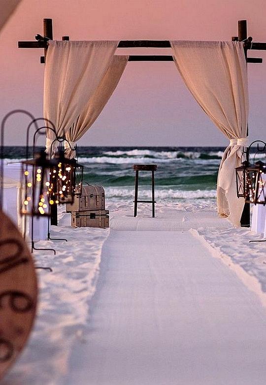 romantic beach wedding ceremony decoration ideas