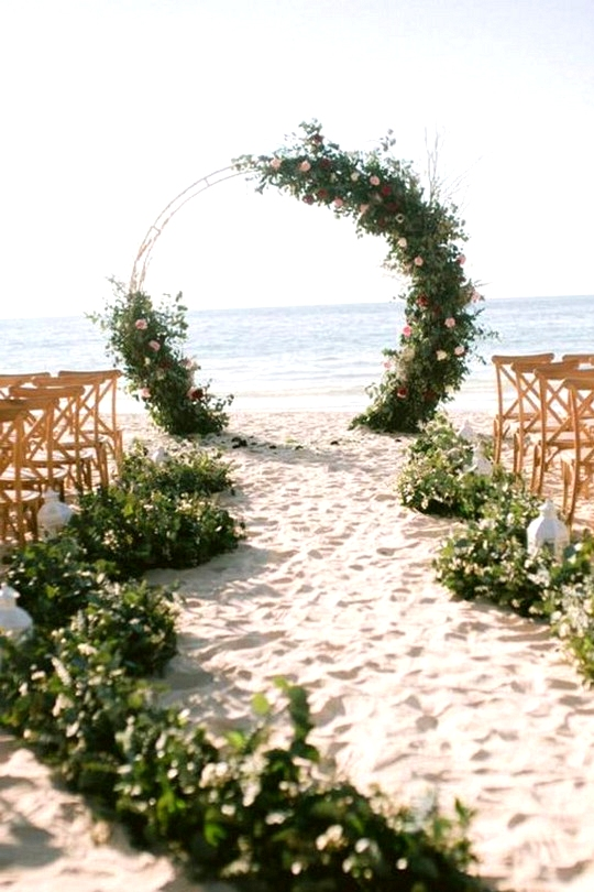greenery beach wedding aisle and arch ideas
