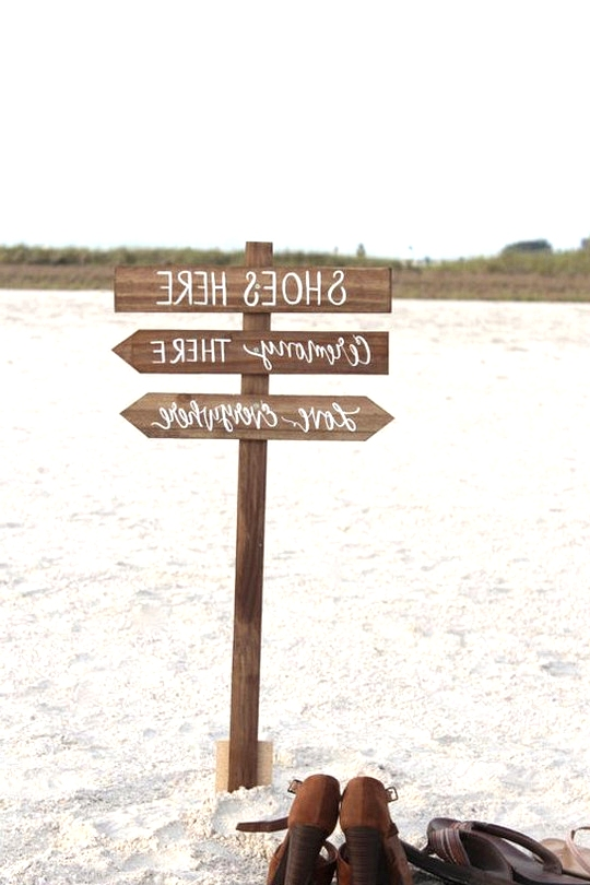 beach wedding sign ideas for shoes station