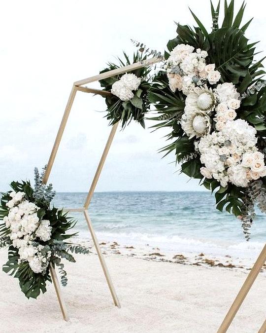 geometric tropical beach wedding backdrop ideas