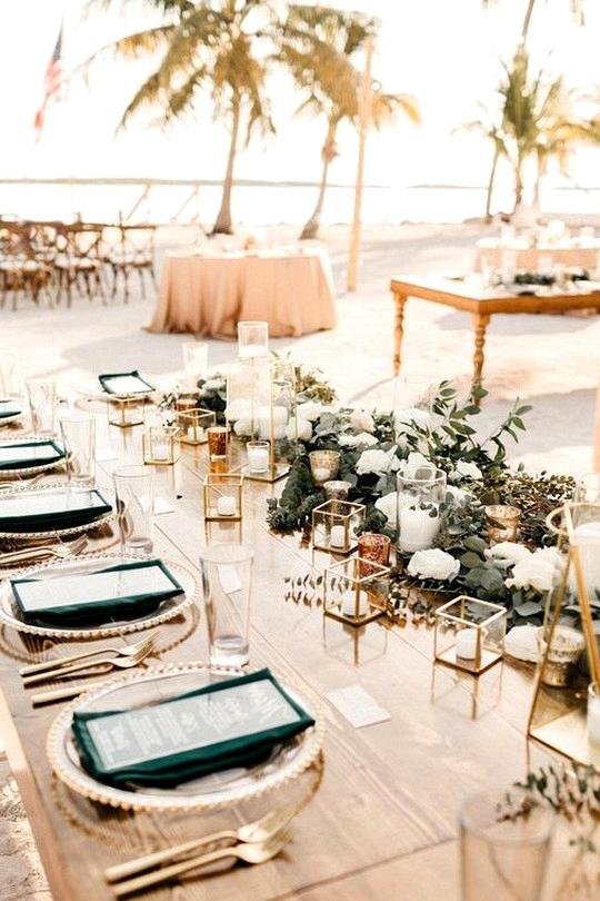 boho beach wedding reception decoration idea