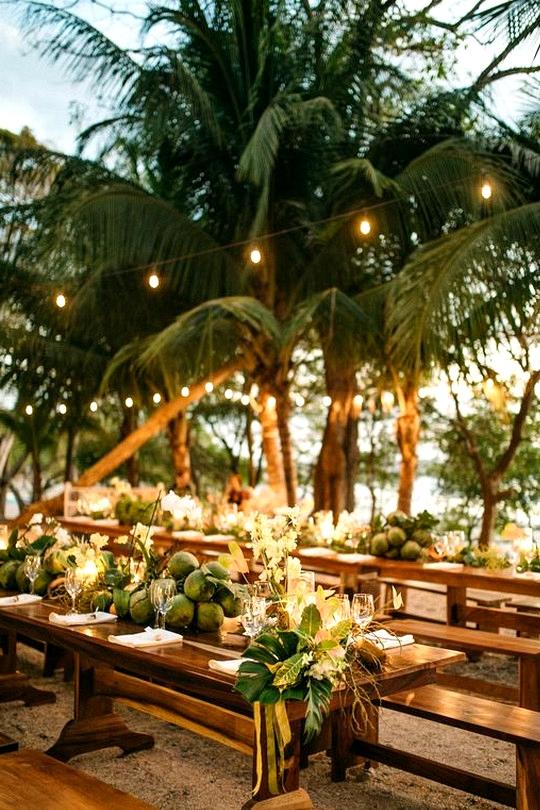 tropical beach wedding reception